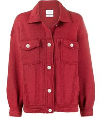 barrie oversized cashmere and cotton-blend jacket - red