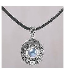 cultured mabe pearl pendant necklace, 'dark sanur shield' (indonesia)