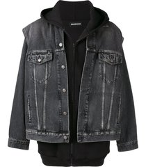 balenciaga twinset hoodie denim jacket - black