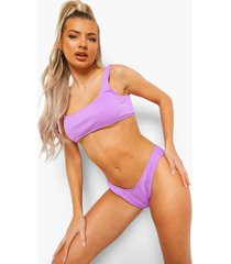mix & match geribbeld hoog uitgesneden hipster bikini broekje, lilac