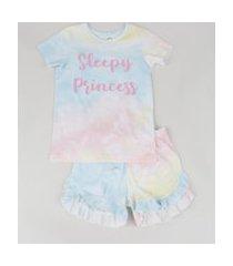 """pijama infantil sleepy princess"""" estampado tie dye manga curta multicor"""""""