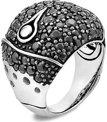 bamboo sterling silver & black sapphire lava dome ring