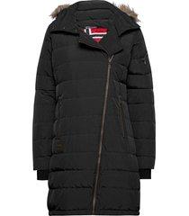 bod down lady coat gevoerde lange jas zwart bergans
