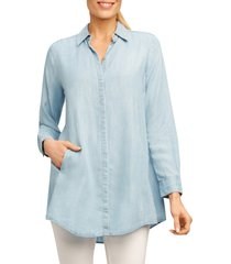 women's foxcroft cici tencel tunic shirt, size 6 - blue