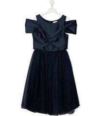monnalisa teen cross-drape tulle dress - blue
