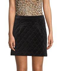 quilted velvet mini skirt