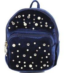 mochila terciopelo perlas azul mailea
