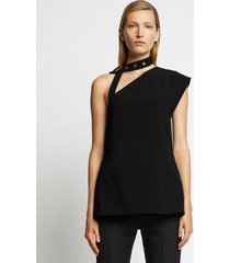 proenza schouler one shoulder belted neckband top /black 6