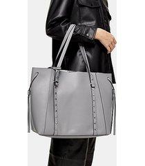 dani grey pu stud tote bag - grey