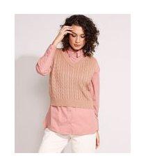 colete de tricô texturizado trança decote v marrom