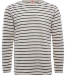 armor lux organic cotton l/s mariniere heritage t-shirt | nature/khaki | 78654-gxj
