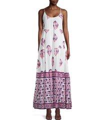 roller rabbit women's sanu floral maxi dress - white pink - size m