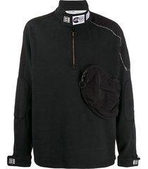off-white parachute half-zipped sweatshirt - black
