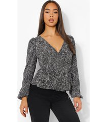 blouse met stippen en v-hals, black