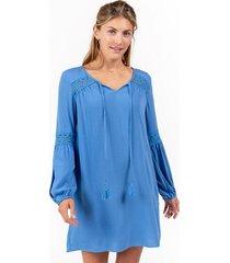 caleb lace shift dress - indigo