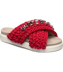 slipper woven st s shoes summer shoes flat sandals röd inuikii