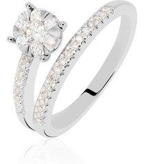 anello in oro bianco e diamanti 0,35 ct per donna
