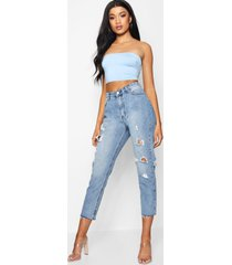 high rise raw hem mom jeans, light blue