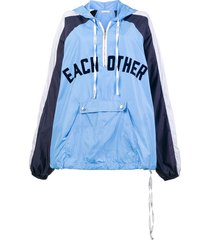 each x other front logo rain hoodie - blue