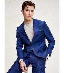 tommy hilfiger men's slim fit linen and wool suit italian blue melange - 46