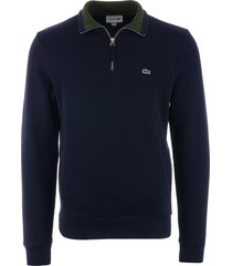 lacoste half zip ribbed sweatshirt - navy sh4288