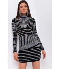 akira line work long sleeve rhinestone mini dress