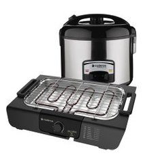kit churrasco cadence - churrasqueira elétrica e panela de arroz - 220v