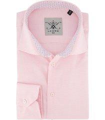 ledub overhemd roze ruit tailored fit