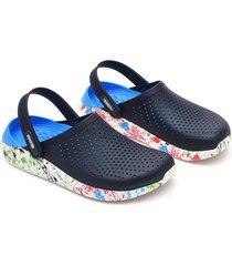 sandalias de playa antideslizantes de tacón plano para mujer-oscuro