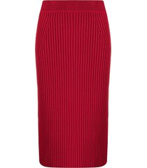 ami amalia ribbed knit merino wool skirt - red