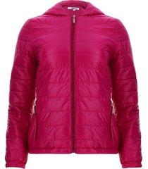chaqueta acolchada con capota color rosado, talla m
