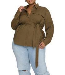 plus size women's good american safari utility belted tunic, size 5 - green