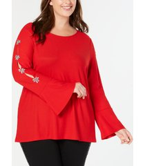 inc plus size embellished sleeve top, created for macy's