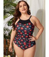 traje de baño sin mangas con diseño sin espalda de frutas y verduras de talla grande