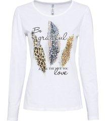 maglia a maniche lunghe con piume stampate (bianco) - rainbow