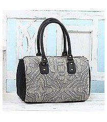 leather accent cotton handbag, 'energetic grey' (india)