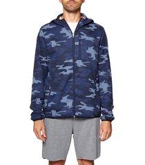 men's spiritual gangster onset front zip hooded jacket, size xx-large - blue