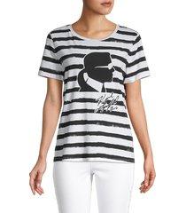 karl lagerfeld paris women's striped stretch-cotton tee - white black - size xs