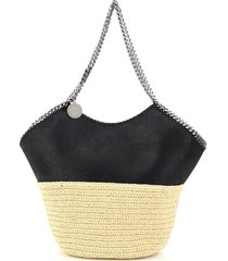 stella mccartney large faux leather and raffia tote with chain