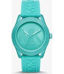 mk orologio maddye oversize verde acqua con cinturino in silicone - verde acqua (blu) - michael kors