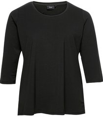 tank top plus cotton basics blus långärmad svart zizzi