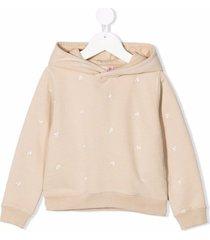 bonpoint embrodiered-cherries cotton hoodie