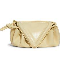 bottega veneta small beak triangle flap leather shoulder bag - beige