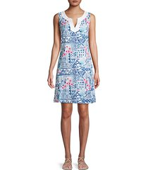 mixed-print cotton-blend mini dress