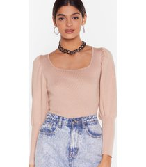 womens square your knowledge knitted puff sleeve sweater - taupe