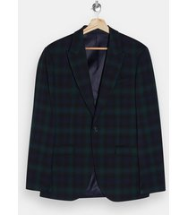 mens green black watch check single breasted skinny suit blazer with peak lapels
