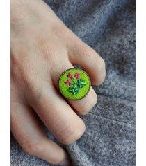 cyklamen - haftowany pierścionek