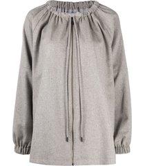 12 storeez loose drawstring-neck wool parka - grey