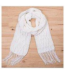 alpaca blend scarf, 'snow white pattern' (peru)
