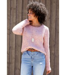 maurices womens pink multi yarn crew neck pullover sweater